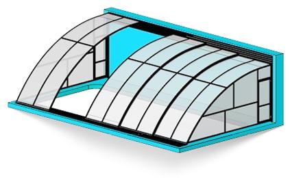 Пристенный павильон для бассейна
